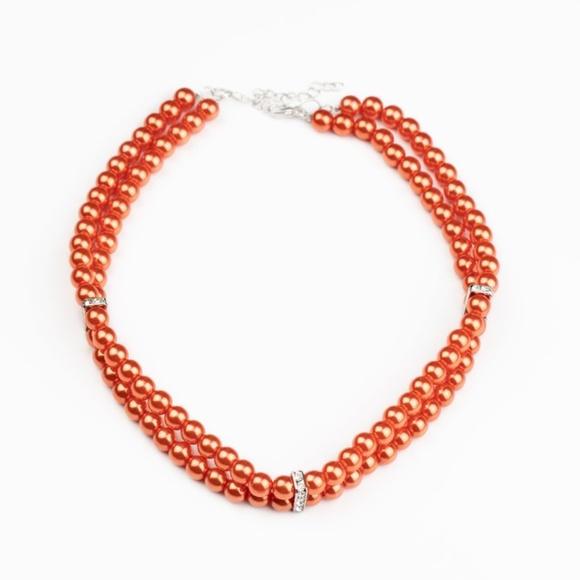 Orange Choker Necklace & Earrings